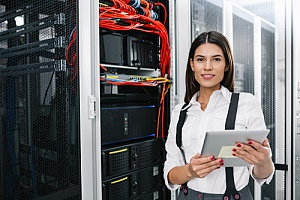 outsourced it support woman performing backup recovery