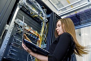 Woman performing network evaluation
