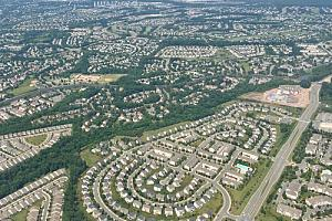 Aerial view of Ashburn, VA