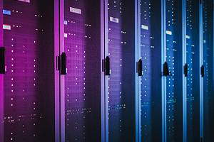 Data center with multiple rows of fully operational server racks.Software consulting can yield valuable results