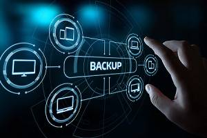 Illustration of data backup storage and disaster recovery plan