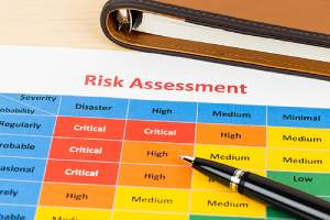 Risk assessment chart. Disaster recovery plan can help minimize the effects of a disaster