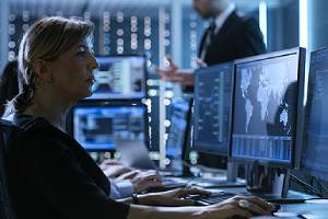 A female IT professional conducting Network security assessment