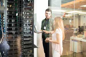 IT consultant in servers room