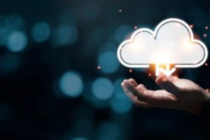 Man with Digital Cloud Graphic on Hand