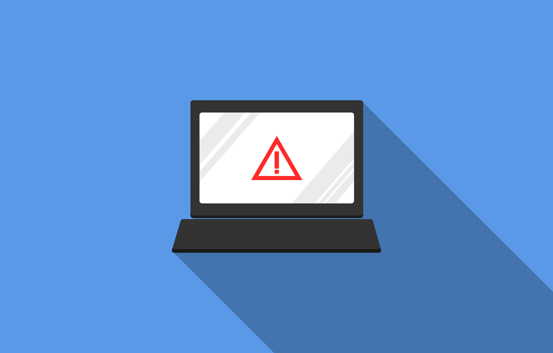 laptop with a warning symbol