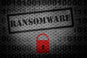 ransomware text with red lock